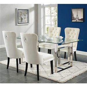 Ens. de salle à manger contemporain  de Worldwide Homefurnishings avec table en verre, crème/beige/amande, 5 pièces