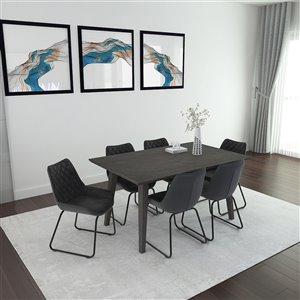 Ens. de salle à manger moderne avec table grise de Worldwide Homefurnishings, gris/argent, 7 pièces