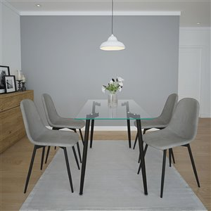 Worldwide Homefurnishings Contemporary Dining Set - Silver/Gray - 5 Pcs
