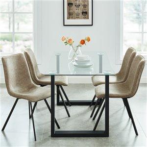 Ens. de salle à manger contemporain avec table en verre de Worldwide Homefurnishings, brun/bronzé, 5 morceaux