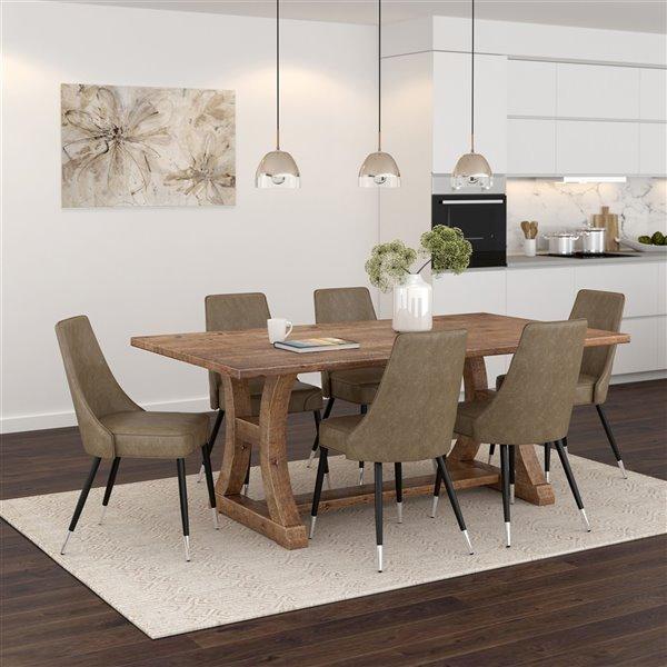 Ens. de salle à manger industriel rutique avec table en pin antique de Worldwide Homefurnishings, brun/bronzé, 7 pièces