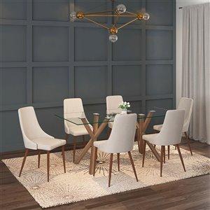 Ens. de salle à manger contemporain avec table en verre de Worldwide Homefurnishings, crème/beige/amande, 7 pièces