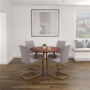 Ens. de salle à manger moderne de mi-siecle avec table de Worldwide Homefurnishings, gris/argent, 7 pièces