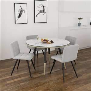 Worldwide Homefurnishings Contemporary Dining Set with White Table - Gray/Silver - 5 Pcs