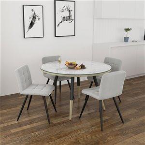 Ens. de salle à manger contemporain avec table blanche de Worldwide Homefurnishings, gris/argent, 5 pièces