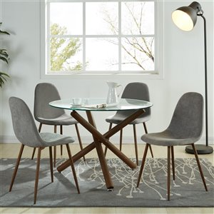 Worldwide Homefurnishings Mid-Century Dining Set with Glass Table - Gray/Silver - 5 Pcs