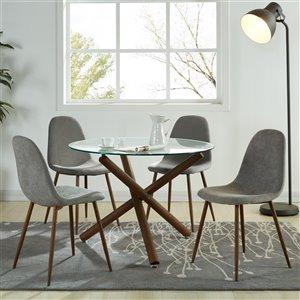 Ens. de salle à manger moderne de mi-siecle avec table en verre de Worldwide Homefurnishings, gris/argent, 5 pièces