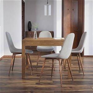 Ens. de salle à manger moderne de mi-siecle avec table en noyer de Worldwide Homefurnishings, gris/argent, 5 pièces