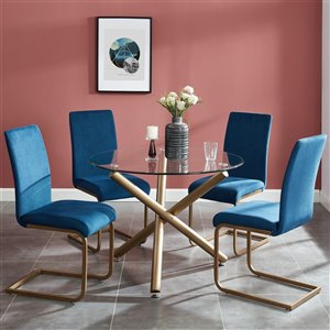 Worldwide Homefurnishings Contemporary Dining Set with Glass Table - Gold/Blue - 5 Pcs