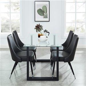 Ensemble de salle à manger contemporain avec table en verre de Worldwide Homefurnishings, gris/argent, 5 morceaux