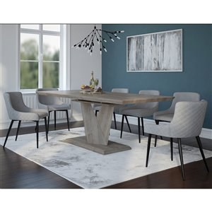 Ens. de salle à manger moderne rustique avec table en chêne de Worldwide Homefurnishings, gris/argent, 7 morceaux