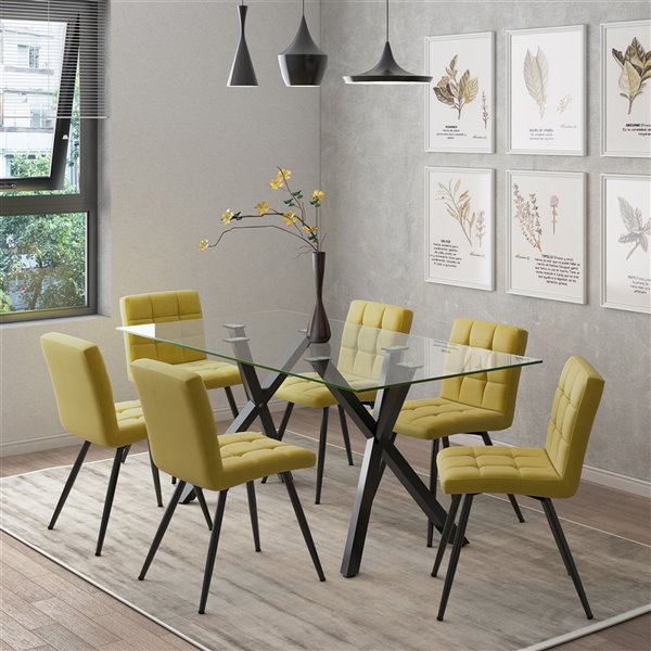Worldwide Homefurnishings Contemporary Dining Set with Glass Table - Yellow/Gold - 7 Pcs