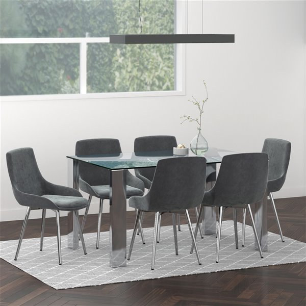 Worldwide Homefurnishings Contemporary Dining Set with Glass Table - Silver/Gray - 7 Pcs