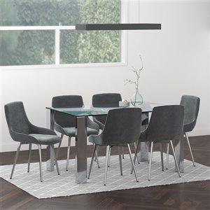 Ensemble de salle à manger contemporain avec table en verre de Worldwide Homefurnishings, gris/argent, 7 morceaux