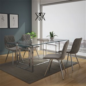 Worldwide Homefurnishings Contemporary Dining Set with Glass Table/Chrome Legs - Gray/Silver - 5 Pcs