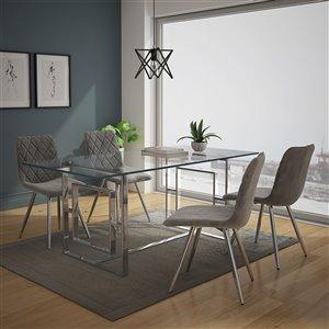 Ensemble de salle à manger contemporain de Worldwide Homefurnishings avec table en verre, gris/argent, 5 pièces