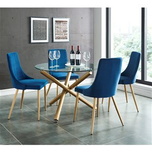 Worldwide Homefurnishings Contemporary Dining Set with Glass Table - Gold/Blue - 5 Pieces