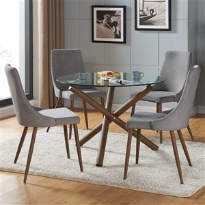 Worldwide Homefurnishings Mid-Century Dining Set with Glass Table - Silver/Gray - 5 Pcs