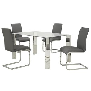 Ens. de salle à manger contemporain avec table en verre de Worldwide Homefurnishings, gris/argent, 5 mcx