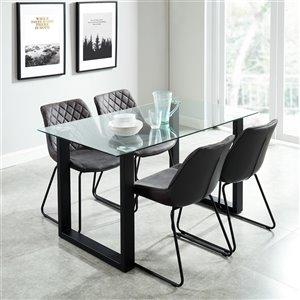 Ensemble de salle à manger contemporain avec table en verre de Worldwide Homefurnishings, gris/argent, 5 mcx