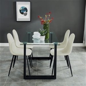 Ens. de salle à manger contemporain avec table en verre de Worldwide Homefurnishings, crème/beige/amande, 5 mcx