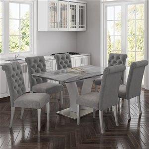 Ens. de salle à manger contemporain avec table grise de Worldwide Homefurnishings, gris/argent, 7 pièces