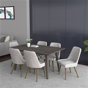 Worldwide Homefurnishings Modern Dining Set with Grey Table - Gray/Silver - 7 Pcs