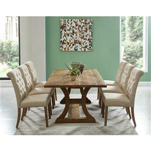 Ens. de salle à manger industriel rutique avec table en pin antique de Worldwide Homefurnishings, crème/beige/amande, 7 pièce