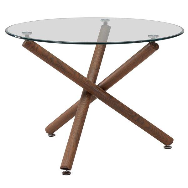 Ens. de salle à manger moderne de mi-siecle avec table en verre de Worldwide Homefurnishings, crème/beige/amande, 5 pièces