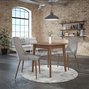 Worldwide Homefurnishings Mid-Century Dining Set with Walnut Table - Gray/Silver - 3 Pcs