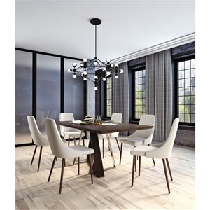 Worldwide Homefurnishings Contemporary Dining Set with Walnut Table - Cream/Beige/Almond - 7 Pcs