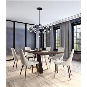 Ens. de salle à manger contemporain avec table en noyer de Worldwide Homefurnishings, crème/beige/amande, 7 pièces