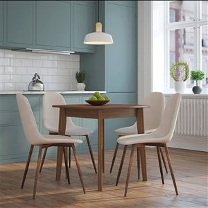 Worldwide Homefurnishings Mid-Century Dining Set with Walnut Table - Cream/Beige/Almond - 5 Pcs