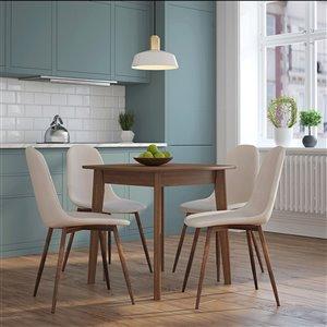 Ens. de salle à manger moderne de mi-siecle avec table en noyer de Worldwide Homefurnishings, crème/beige/amande, 5 pièces