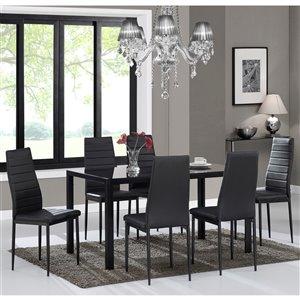 Ens. de salle à manger contemporain avec table en verre noir de Worldwide Homefurnishings, noir, 7 pièces