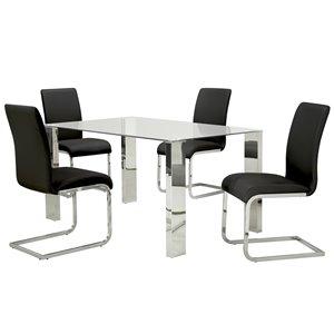 Ens. de salle à manger contemporain avec table en verre de Worldwide Homefurnishings, noir, 5 morceaux