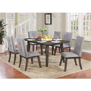 Ens. de salle à manger moderne de Worldwide Homefurnishings avec table grise, 7 pièces