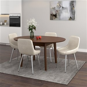 Worldwide Homefurnishings Mid-Century Dining Set with Walnut Table - Cream/Beige/Almond - 5 Pcs
