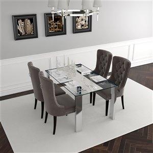 Ens. de salle à manger contemporain avec table en verre de Worldwide Homefurnishings, argent/gris, 5 morceaux