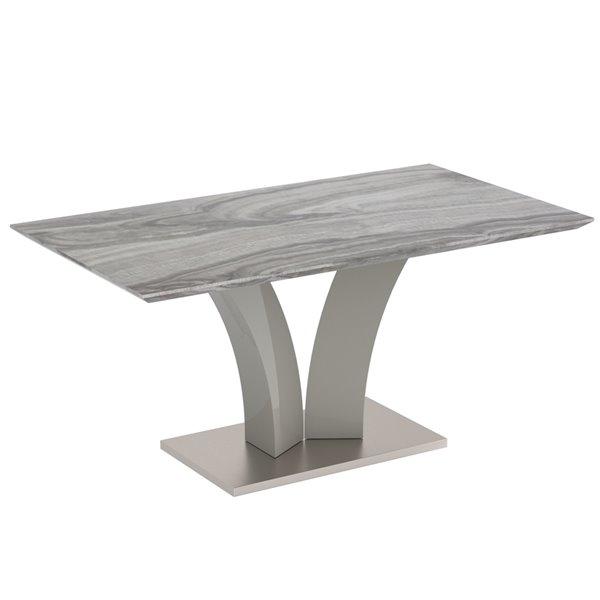 Ens. de salle à manger contemporain avec table grise de Worldwide Homefurnishings, crème/beige/amande, 7 pièces