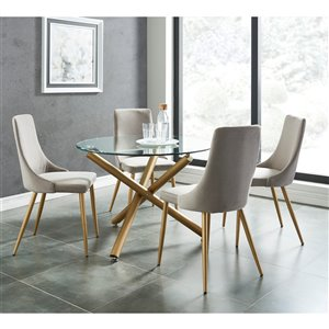 Worldwide Homefurnishings Contemporary Dining Set with Glass Table/Gold Legs - Silver/Gray - 5 Pcs