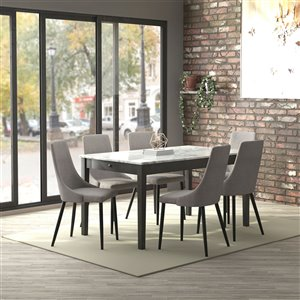 Worldwide Homefurnishings Contemporary Dining Set with Grey Table - Gray/Silver - 7 Pcs