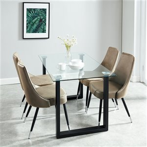 Worldwide Homefurnishings Contemporary Dining Set with Glass Table - Brown/Tan - 5 Pcs