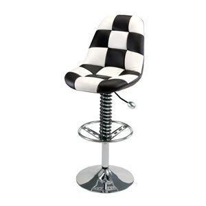 Chaise de bar Pitstop Pit Crew, blanc et noir, 19,5 po x 32,5 po x 46,5 po