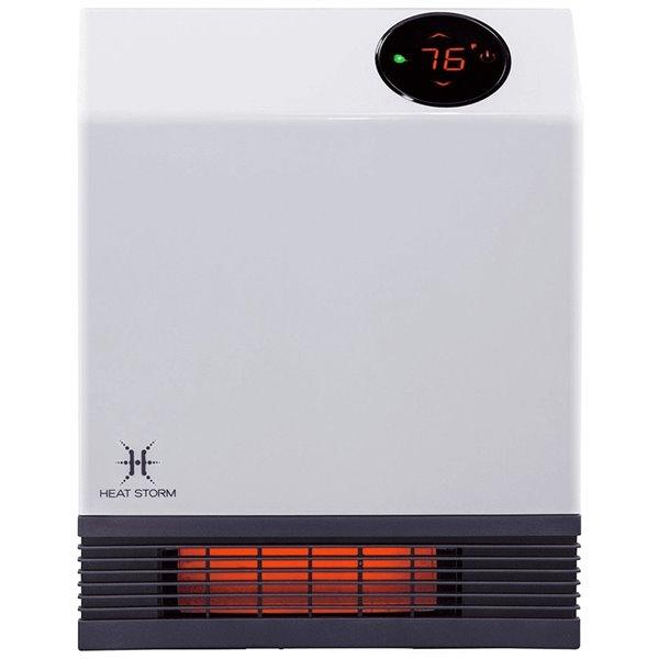 Radiateur portatif à quartz infrarouge Heat Storm avec thermostat intégré et capteur de surchauffe, blanc