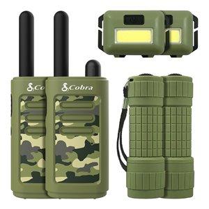 Émetteurs-récepteurs Cobra Kids avec lampe frontale et lampe de poche, vert, 6 mcx