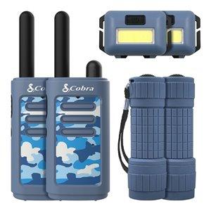 Émetteurs-récepteurs Cobra Kids avec lampe frontale et lampe de poche, bleu, 6 mcx