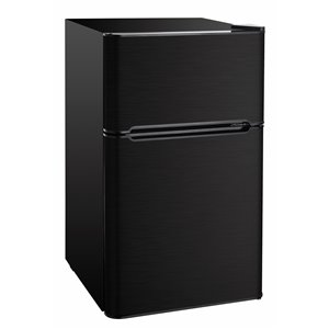 RCA 3.2 cu ft Freestanding 2-Door Fridge with Freezer Compartment  - Black Stainless Steel