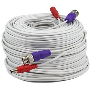 Câble d'alimentation et vidéo HD BNC 200 pi de Swann, blanc