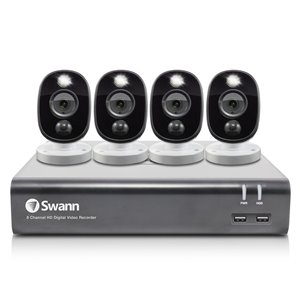 Swann 1080p HD 8 Channel 1TB DVR Security System 4 x PIR Outdoor Security Camera